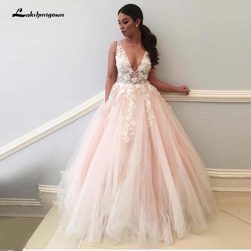 Light Pink Wedding Dresses 2019 V Neck 3D Flowers Lace Appliques Pink Brida Dress Formal Pary