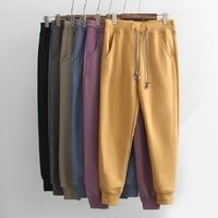 Winter Womens Sweatpants Elastic Waist Fleece Cotton Sweat Pants Women Fashion Casual Trousers Grey Yellow Blue Black