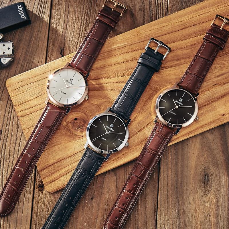 Bestdon Lovers Watches Men Women Fashion Casual Quartz Watch Leather Strap Waterproof Simple Quartz Wristwatches Montre Homme