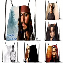 Custom Johnny Depp Drawstring Backpack Bag Cute Daypack Kids Satchel (Black Back) 31x40cm#180531-03-79