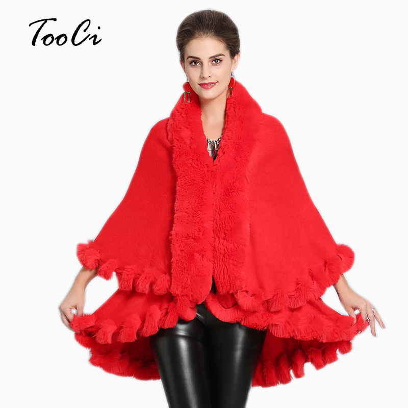 Elegant Fake Fox Fur Coat  Women Red Warm Soft Jacket Cardigan Thick Overcoat Short Outerwear Poncho And Capes