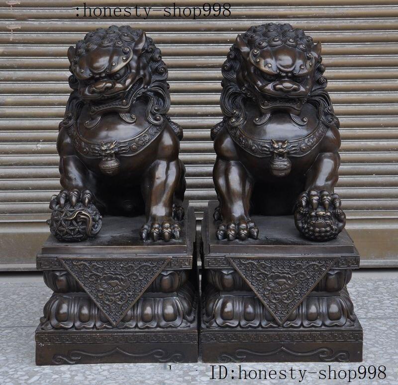 Свадебное Украшение 18 Китайский Бронзовый феншуй Хранитель собака Фу Собака филактерия дверь Статуя Льва пара
