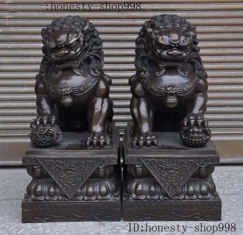 wedding decoration 18Chinese Bronze Fengshui Guardian Foo Fu Dog Phylactery Door Lion Statue Pair