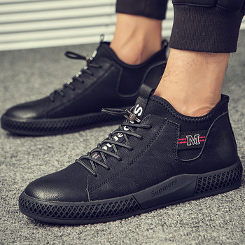 2018 Trend Man Casual Shoes Leather Walking Shoes Basic Lace-Up Male Shoes Adult Winter Shoes Men Designer Sneaker Black