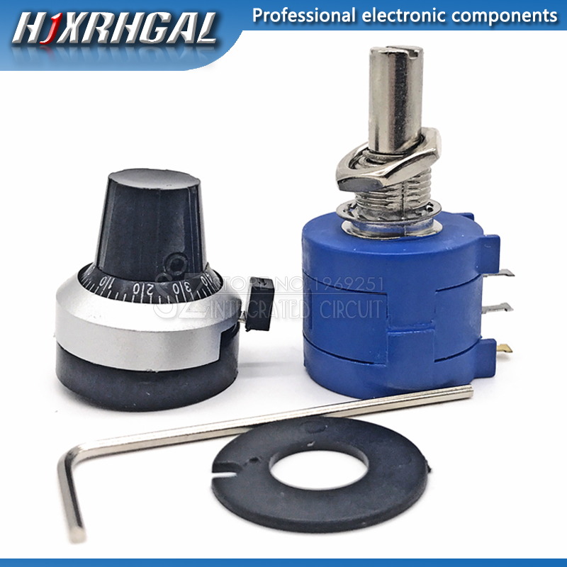 3590S-2 3590S Precision Multiturn Potentiometer 10 Ring Adjustable Resistor+1PCS Turns Counting Dial Rotary 6.35mm Knob Hjxrhgal