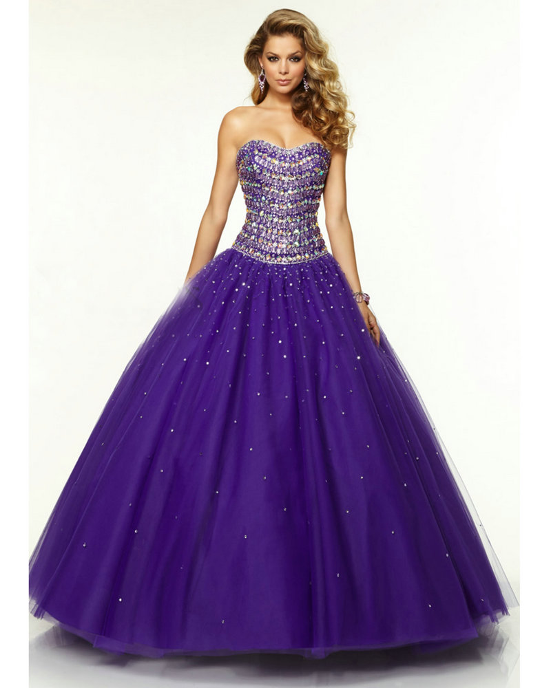 Purple Princess Prom Dress With Crystals Ball Gown Vestido De Festa