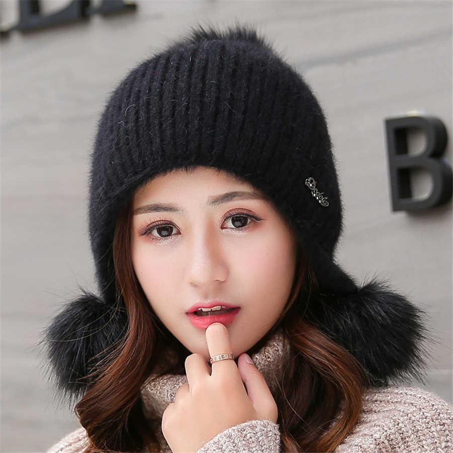 Tavşan Peluş Şapkalar Kadınlar Kış Moda Kasketleri Tatlı Sevimli Hedging Kap Kadife Yün Şapka Öğrenci Saç Topu Kapaklar Sıcak Örgü şapka