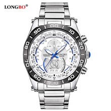 LONGBO Marque Montres Hommes D'affaires Calendrier Casual Horloge Datejust En Acier Inoxydable Montre-Bracelet À Quartz Montre Relogio Masculino 80008