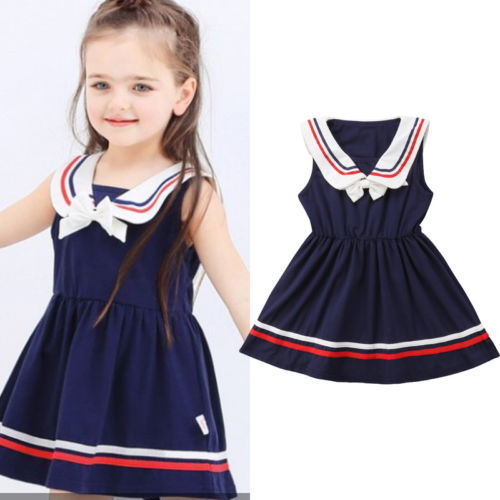 91eaf93ceb33 Cool Sailor Style Toddler Baby Girl Dress Summer Bow knot Striped ...