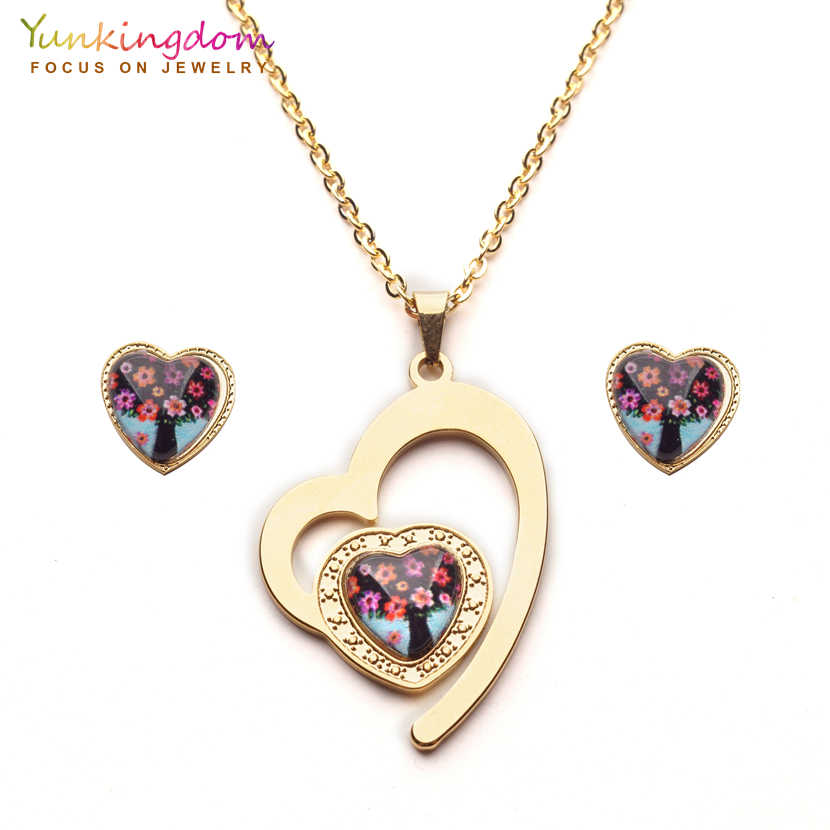 Yunkingdom new heart tree crystal stainless steel turkish jewelry sets pendant necklace earrings for women  UE0255