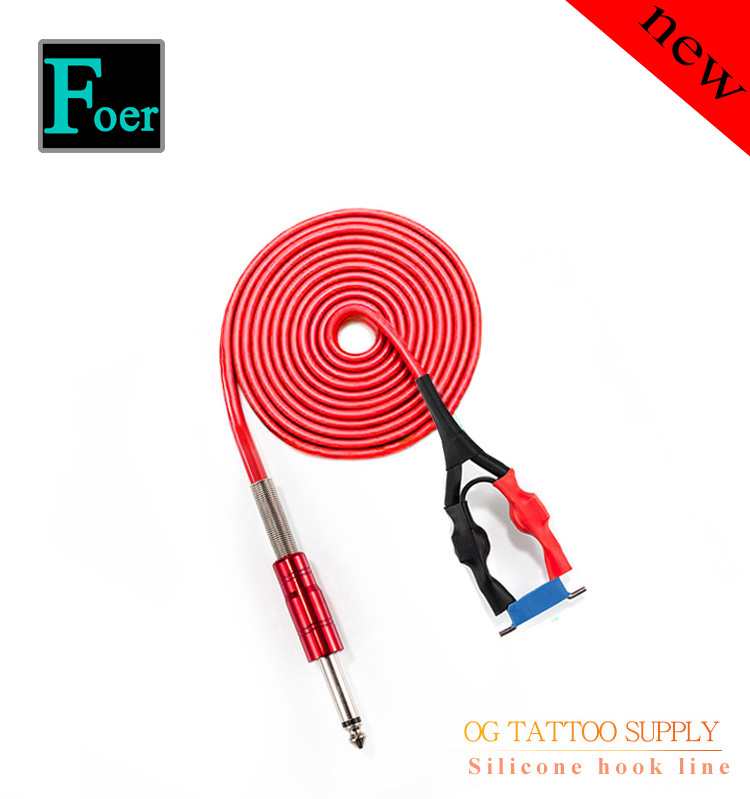 OG Silicone Hook Line For Conversion Kit Clip Cord Rca Tattoo Machine Professional Rubber Power Supply Plug 3.5 1.8m