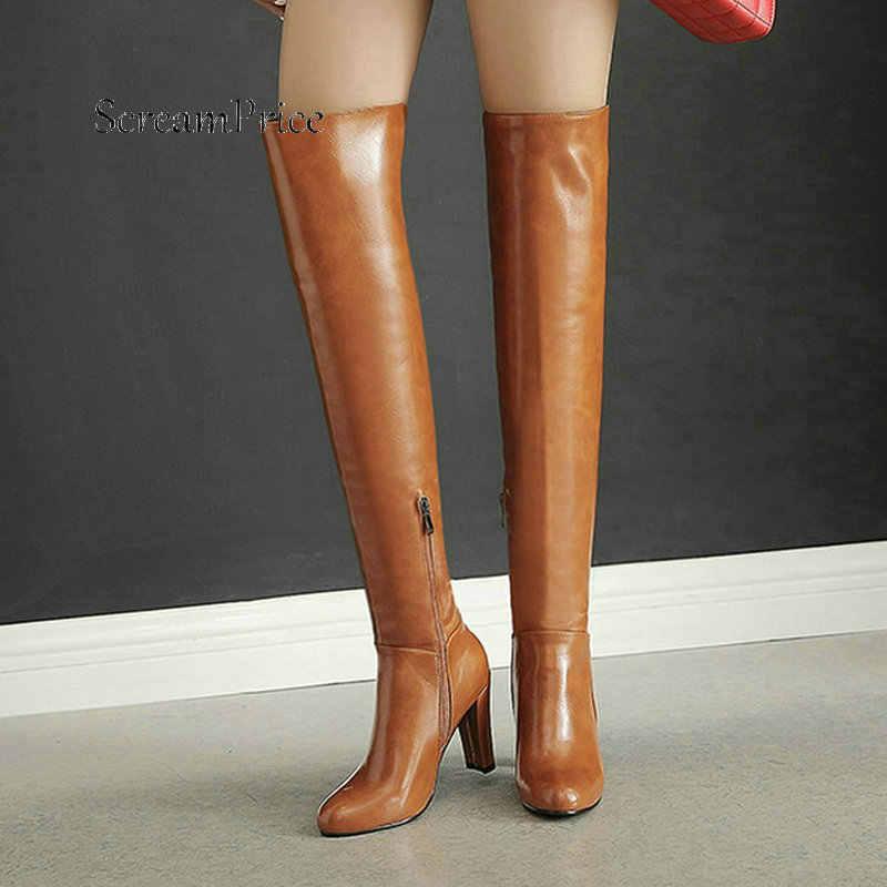 Sıcak Kış kadın Yan Fermuar Uyluk Çizmeler Moda Yuvarlak Ayak Kalın Yüksek Topuk Rüzgarlık Kadın Ayakkabı Kırmızı Siyah sarı