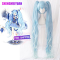 2017 High Quality Thick 120cm Long Straight Light Blue Wigs Ponytail Full-bodied Synthetic Hair Snow Hatsune Miku Wig Cosplay