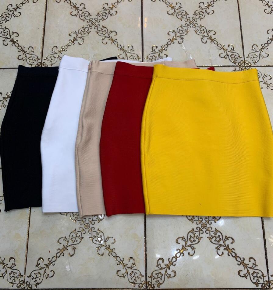Free Shipping 7 Colors Sexy Solid Zipper Orange Blue Black Bandage Skirt Women Elastic Bodycon Summer Mini Pencil Skirt 43cm