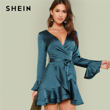 SHEIN Blue Party Elegant Sexy Split Back Ruffle Trim Overlap Front Belted Deep V Neck High Waist Solid Autumn Dress For Women