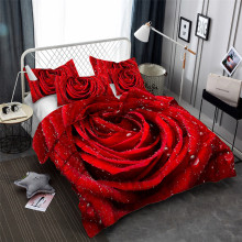 HELENGILI 3D Bedding Set Flower Print Duvet Cover Set Lifelike Bedclothes with Pillowcase Bed Set Home Textiles