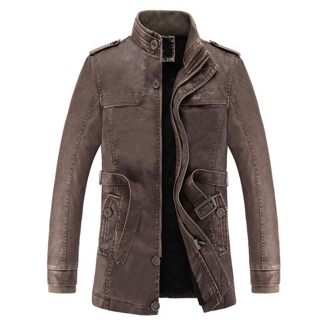Winter Slim Warm Men's washed Leather Jacket
