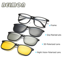 Optical Eyeglasses Frame Men Women With 3 Polarized 3D Clip On Magnets Sungllasses Glasses Spectacle Frame For Male Female RS172