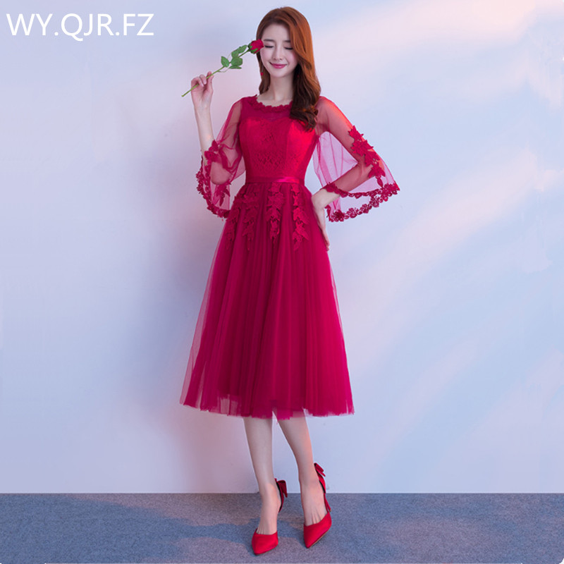 JYX79#Sisterhood lace up long style wine red Bride's Bridesmaid   dresses   wedding party   prom     dress   2018 new wholesale Custom