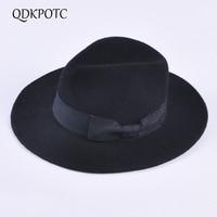 QDKPOTC 2018 Autumn And Winter High Quality Men Women Fedoras 100%wool Sunshade Cap Butterfly Cowboy England Jazz Hat