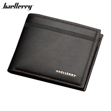 BAELLERRY Brand Men Wallets Black Short Wallets PU Leather Casual Lichee Pattern Men's Purses