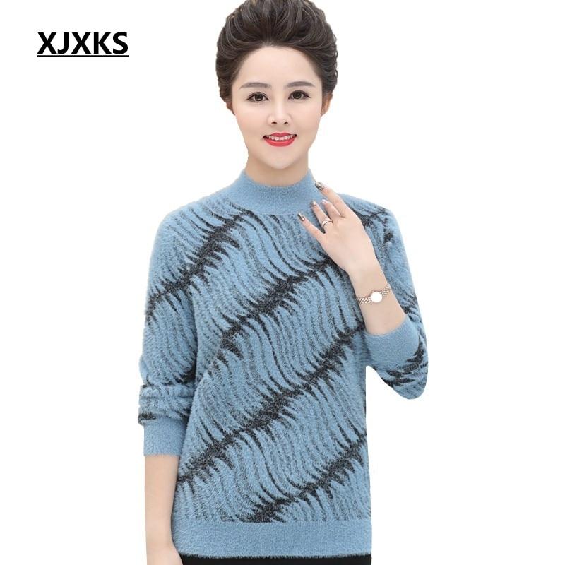 XJXKS Fuzzy comfortable knitted women halt turtleneck sweater warm 2019 new fashion spring autumn women pullover