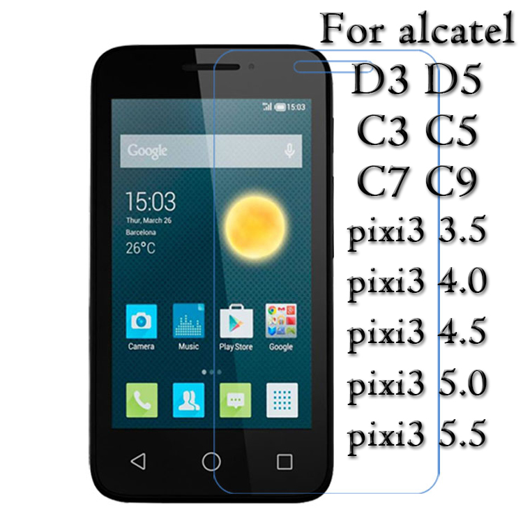 Galleria fotografica Tempered Glass screen protector Film 9H 2.5D for Alcatel One Touch pop c3 c5 c7 c9 d3 d5 Pixi3 3.5 4.0 4.5 5.0 5.5 Inch Glass