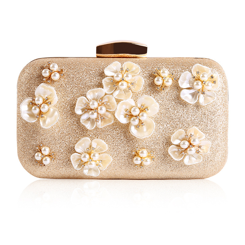 2018 Chic Day Clutch with Luxurious Pearls and Flowers, Elegant Evening Bag with Chain