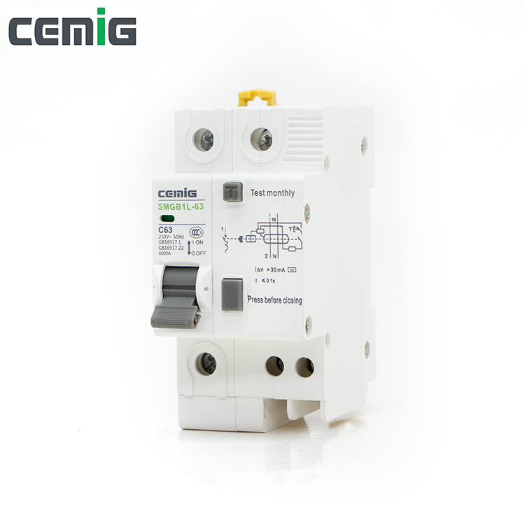Cemig 1P+N RCBO Miniature Leakage Circuit Breaker MCB Phase Line+Neutral+Leakage Protection RCD SMGB1L-63 1P+N AC230V Cemig 1P+N RCBO Miniature Leakage Circuit Breaker MCB Phase Line+Neutral+Leakage Protection RCD SMGB1L-63 1P+N AC230V
