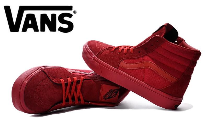 Original VANS classic Old Skool All red high help men s canvas shoes 2a83b7886