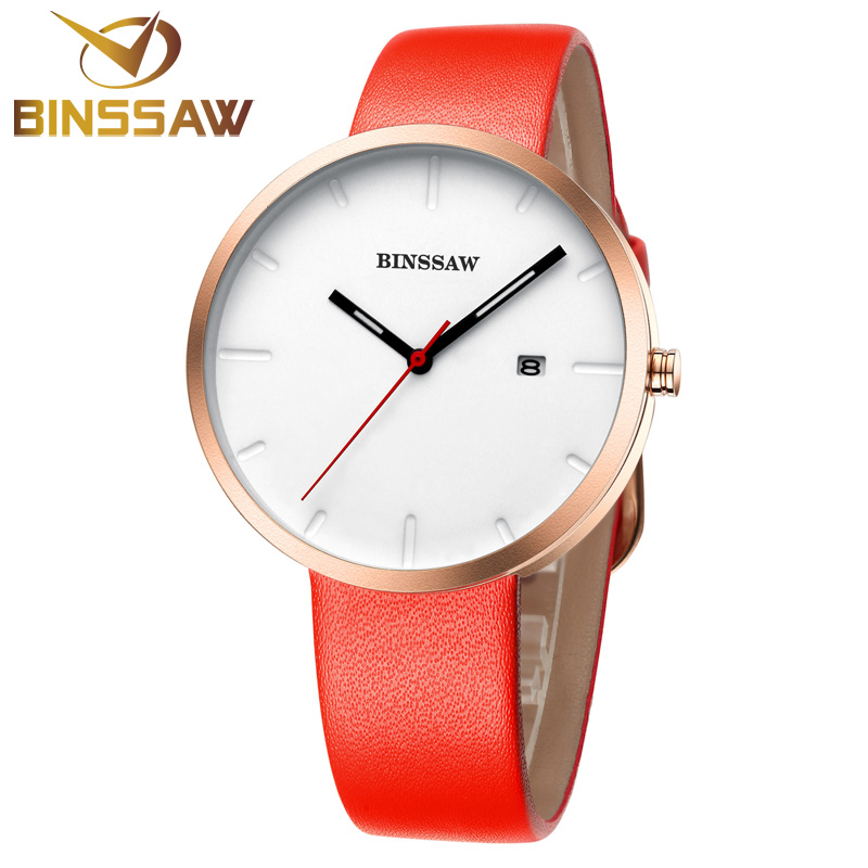 BINSSAW Quartz Relojes Womens Top Brand Luxury Reloj Mujer Real Leather Watches Ladies Dress Wrist Watch Relogio Feminino 2017 reloj mujer 2017 watch top brand luxury ladies watches womens quartz wrist watch waterproof clock women hours relogio feminino