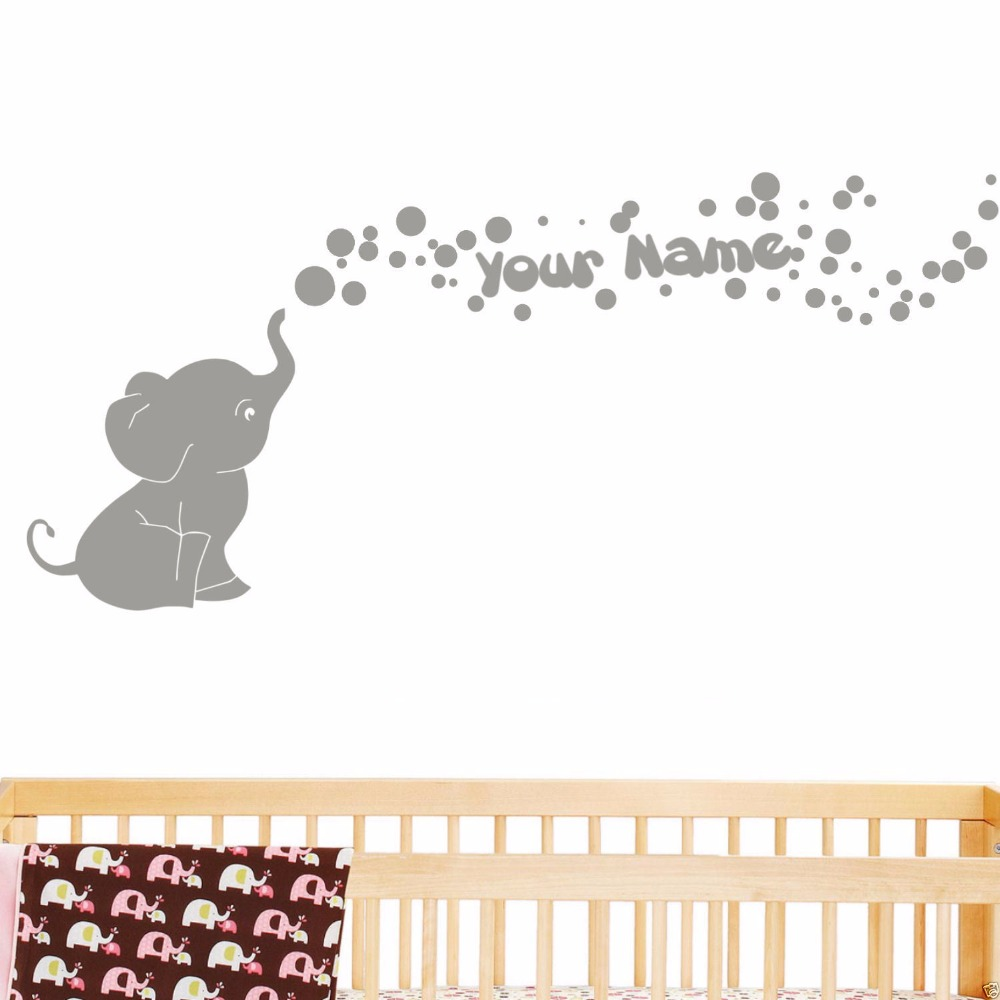 Us 16 99 Elephant With Bubbles And Custom Name Baby Wall Decal Viny Nursery Room Decor 60cmx127cm In Stickers From Home Garden On