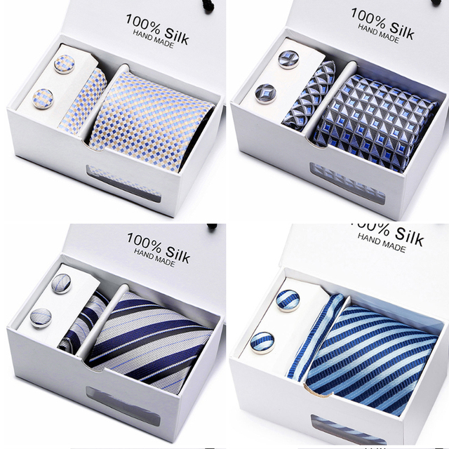 2 pcs/lot 3.35inch(7 Cm) Wide Ensemble Silver Paisley Man Tie, Handkerchief and Cufflinks Gift Box Packing Many Color