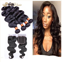 4 Bundles Brazilian Body Wave With Closure 7A Cheap Rosa Human Hair Extension Unprocessed Brazilian Virgin