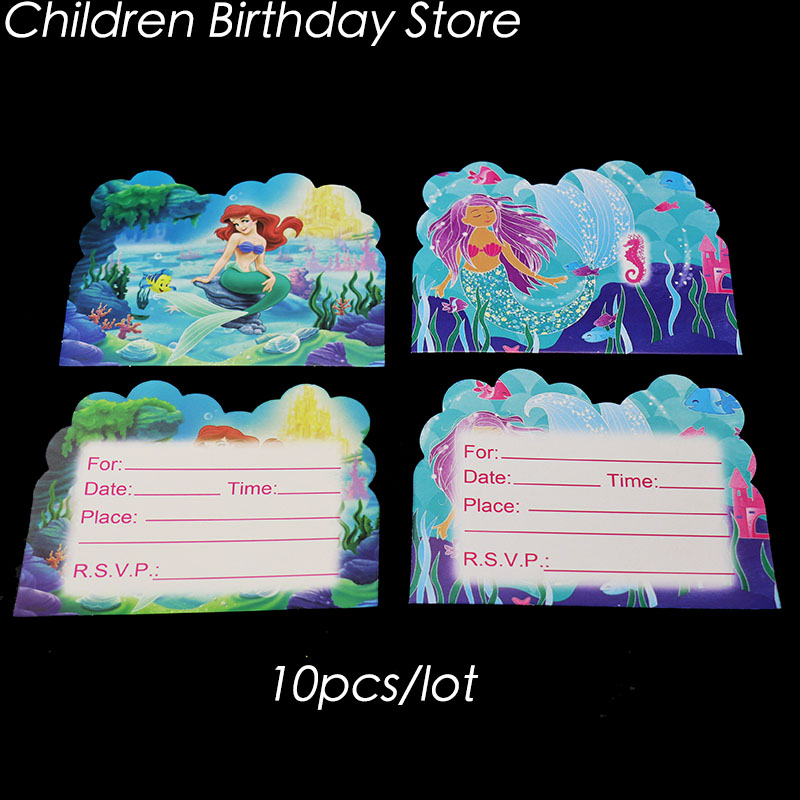 10pcs Lot The Little Mermaid Invitations Birthday Party Decorations