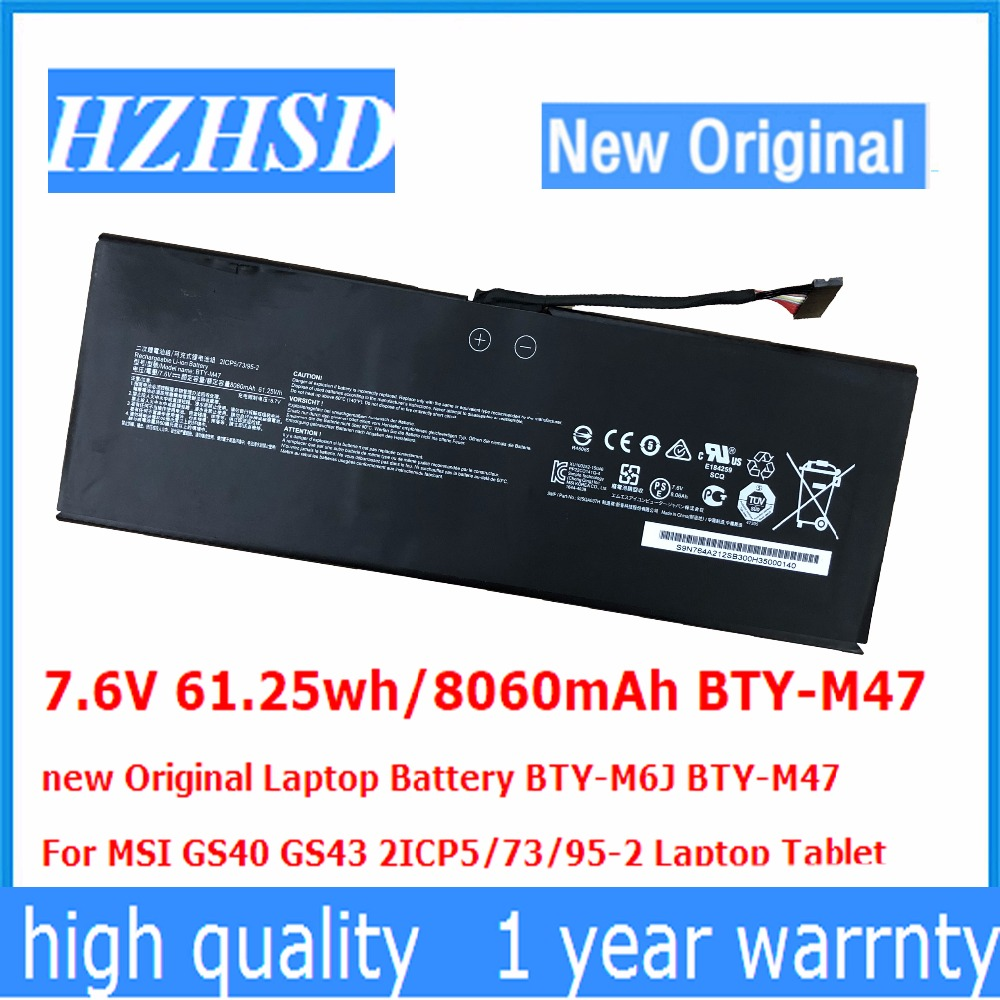 7.6V 61.25wh/8060mAh BTY-M47 new Original Laptop Battery BTY-M6J BTY-M47 For MSI GS40 GS43 2ICP5/73/95-2 Laptop Tablet new japan laptop keyboard for for msi steelseries gs43 gs40 gs40 6qe81fd gs43vr jp keyboard backlit