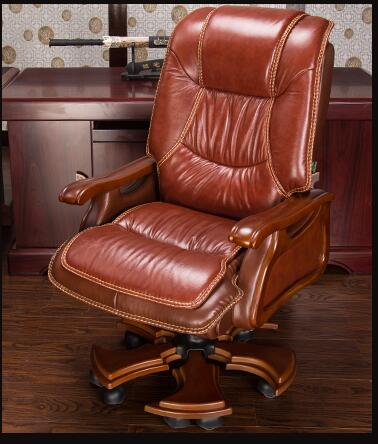 Boss Chair. Real Leather Computer Chair. Home Massage Can Lie In The Leather Chair. Solid Wood Armrest Office Chair.06