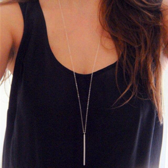 1 pz donne di modo dell'annata lunga collana di gioielli in argento oro Colore s