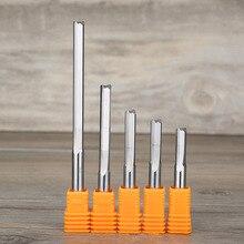 """1 шт, 5/6/8/10 мм SHK нож """"Gong"""" фреза Два флейты прямые фрезы для контурной обработки для деревообрабатывающего станка CNC прямые гравирующие резцы слот Концевая фреза Инструменты"""