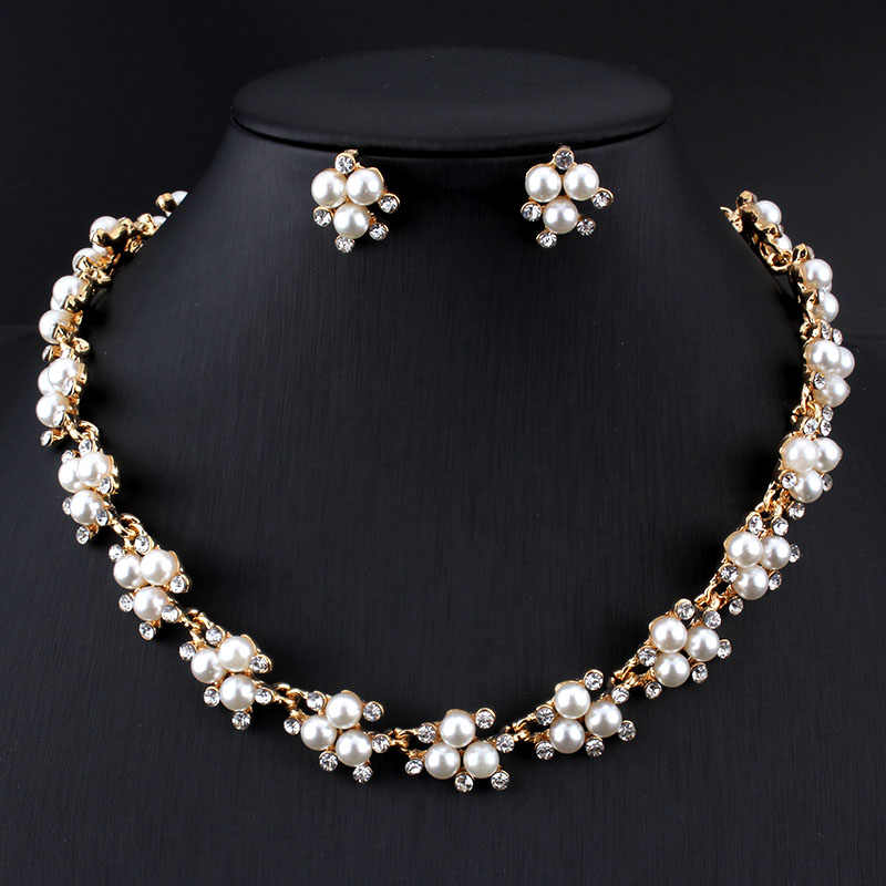 Jiayijiaduo Evening Dress Wedding Imitation Pearl Jewelry Sets Necklace Earrings for Charm Women Clothing Accessories Gold Color