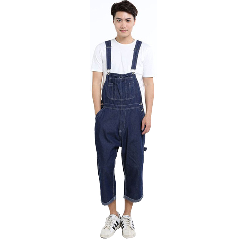 New Hip Hop Pants Summer Fashion Mens Loose Jean Overalls Casual Bib Jeans For Men Male Denim Jumpsuit  Size 28-42 2014 new fashion men nostalgic vintage light color jeans wash capris pants loose plus size overalls zipper denim jumpsuit