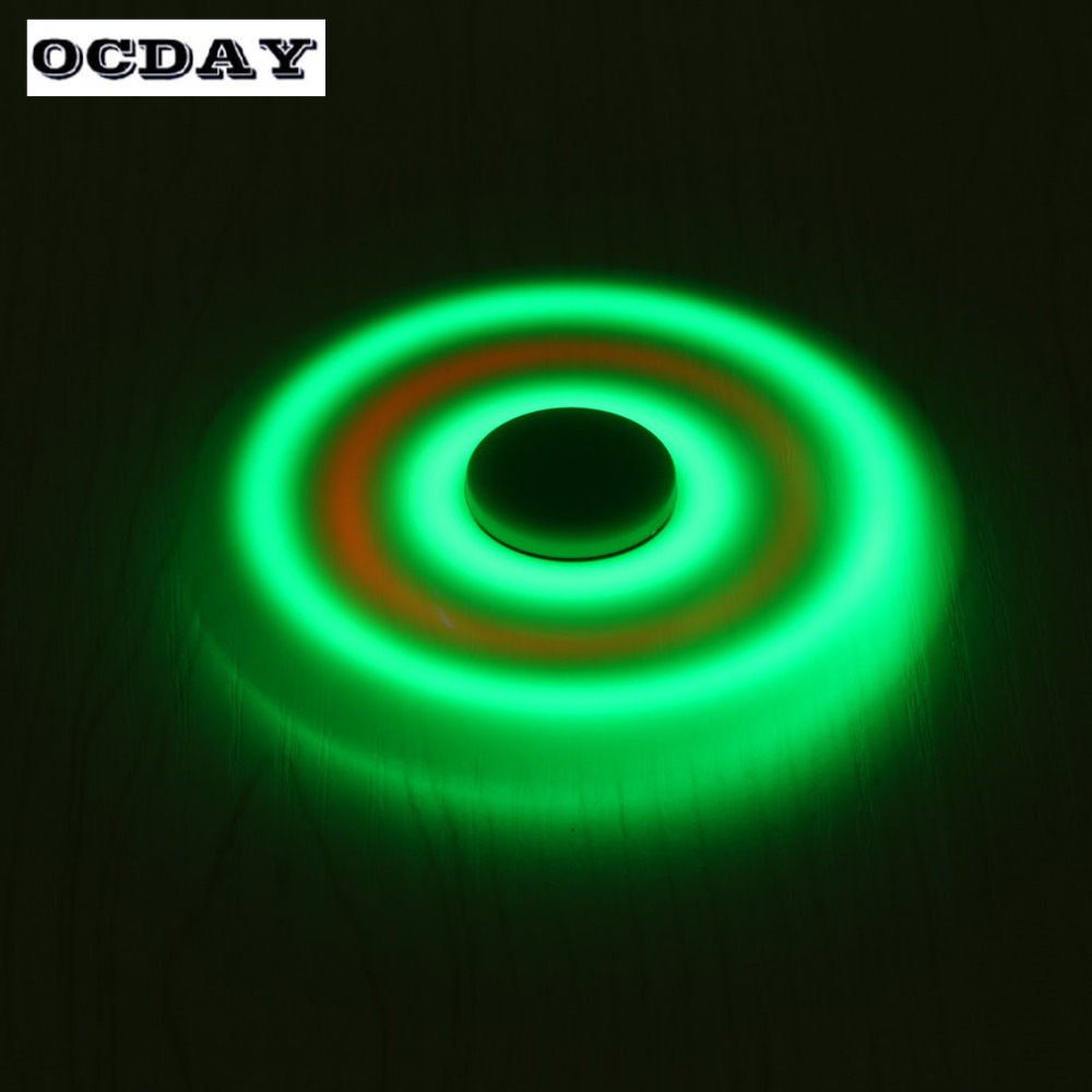 OCDAY Fidget Spinner Hand EDC Tri Spinning Top Glow In The Dark Toys Rotating Flashing Sound
