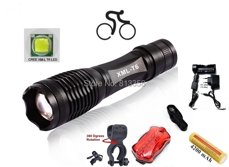 E007 CREE XM-L T6 LED 4000LM Zoom Cycling light Flashlight Torch with 18650 +AC Charger+Car charger+holster+clip+Tail lights cree xm l t6 bicycle light 6000lumens bike light 7modes torch zoomable led flashlight 18650 battery charger bicycle clip