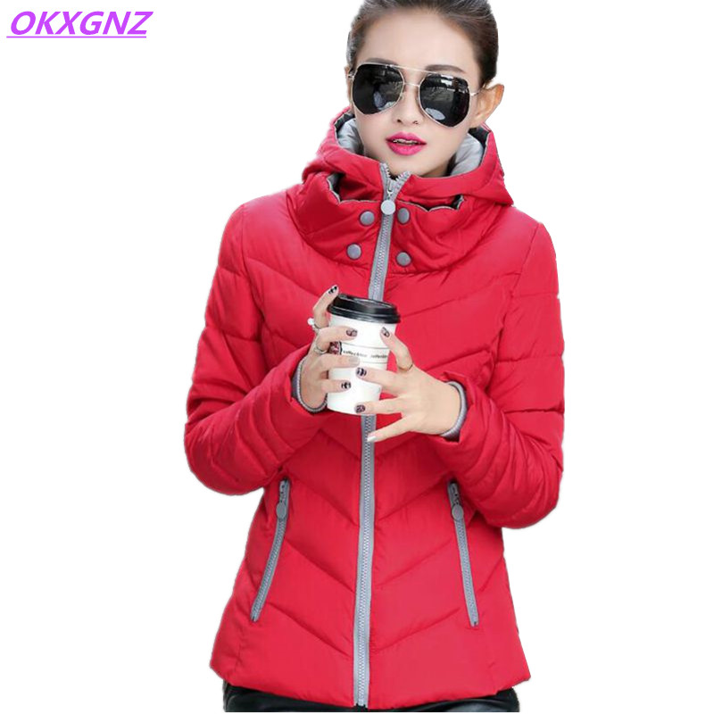 New Winter Women's Down Cotton Short Jackets Thick Warm Coats Fashion Hooded Parkas Plus Size Slim Student Outerwear OKXGNZ A054 new winter women down cotton coats fashion hooded fur collar long jackets plus size thick warm down cotton outerwear okxgnz 812
