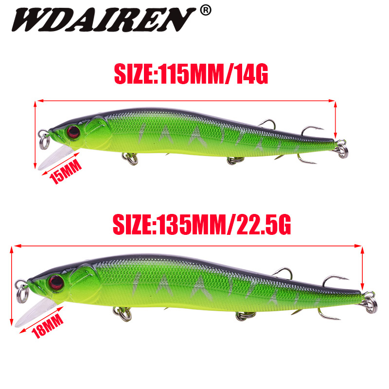 WDAIREN Minnow Fishing Lure 14g/22.5g Floating Artificial Hard Bait Bass Wobblers Lures Crankbait Pike Treble Hooks Tackle