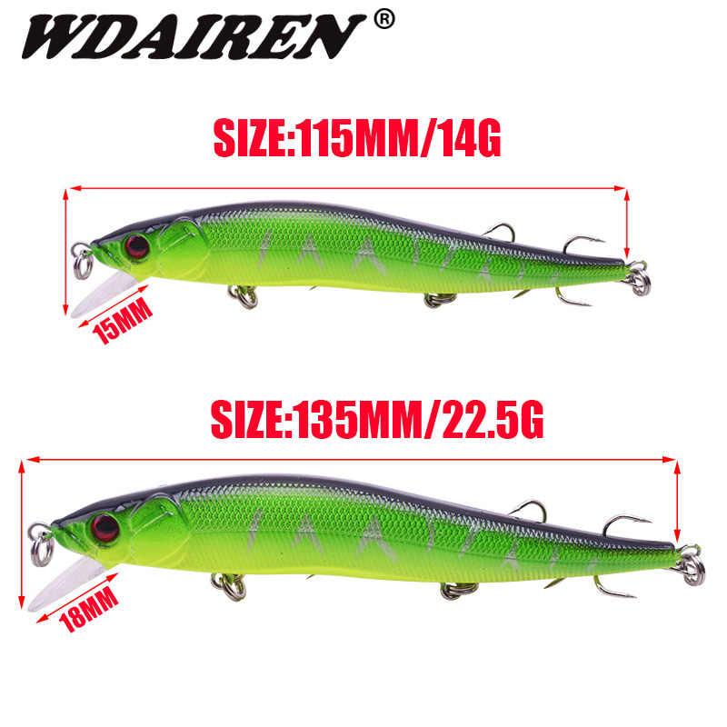 WDAIREN Minnow Hardเหยื่อตกปลา14G 22.5G Wobblersลอยเหยื่อประดิษฐ์ด้วยตะขอTreble Tackle Bass Pike Crankbaits