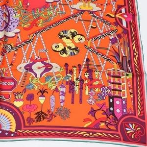 Image 5 - موضة مطبوعة 100% الحرير حك وشاح باندانا الحجاب Foulard ساحة وشاح حريري المرأة 90 الفاخرة تصميم الحرير والأوشحة و يلتف شال