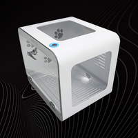 White Full Automatic Pet Drying Box Tempered Glass+Acrylic Plate Hair Dryer for Small Pet Smart Temperature Display Dryer