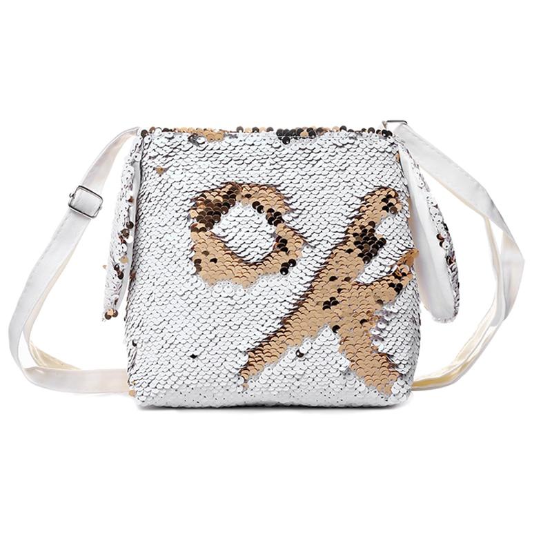 New Paillette Messenger Bag For Women Girl AB Color Glitter Sequins Crossbody Shoulder Bag Kids Children Handbag Baby School Bag