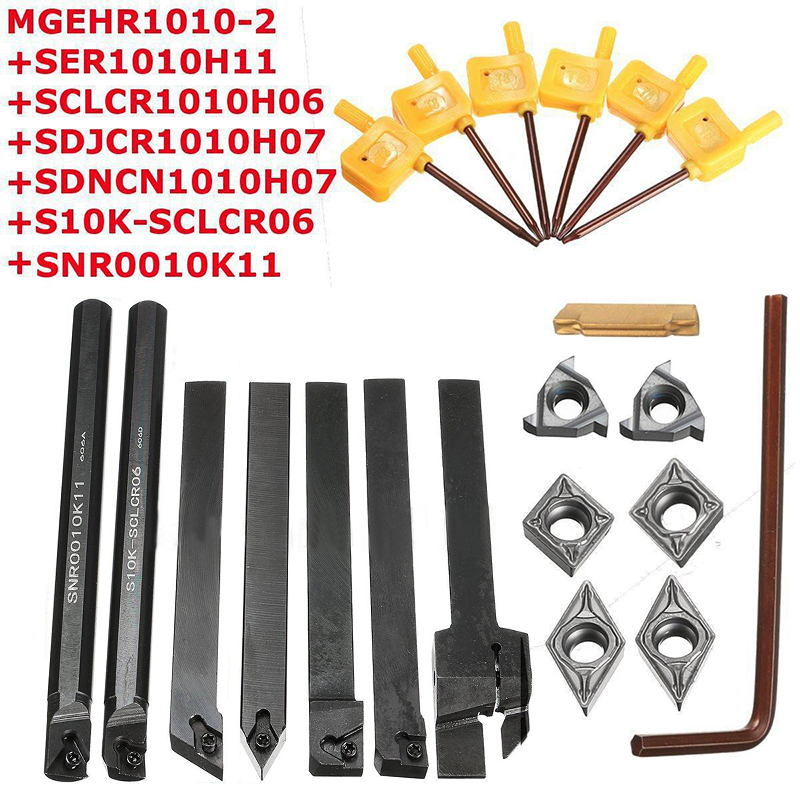 21pcs/set Lathe Turning Tool Holder Boring Bar with DCMT/CCMT Carbide Inserts Blade And Wrench sir 0013m16 internal thread turning tool holder a rotacao do porta ferramenta and threading lathe tool holder
